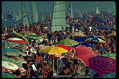 Crowds of tourists on the beach in Rimini Italy