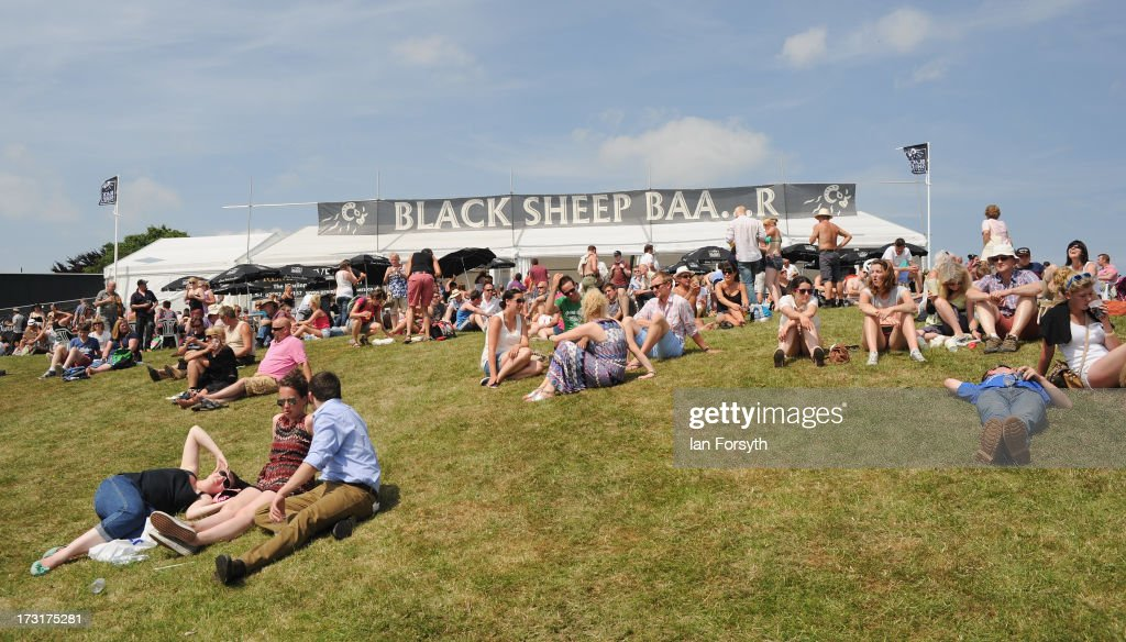 Crowds of visitors sit outside the 'Black Sheep Brewery' beer tent at the Great Yorkshire Show on July 9, 2013 in Harrogate, England. The Great Yorkshire Show is the UK's premier agricultural event and brings together agricultural displays, livestock events, farming demonstrations, food, dairy and produce stands as well as equestrian events to thousands of visitors over the three days.