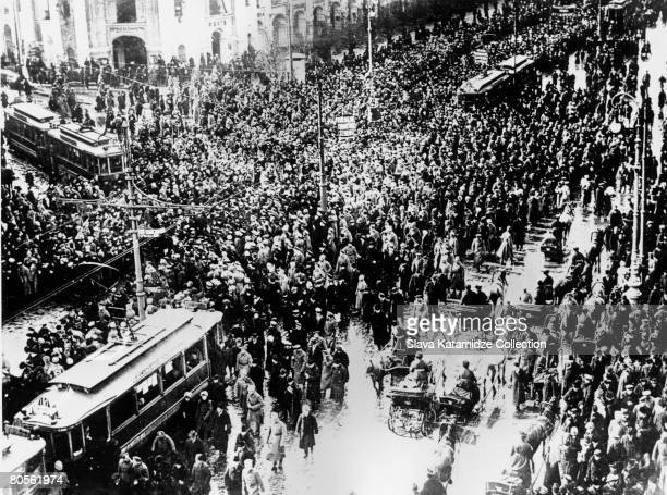 Crowds on Nevsky Prospekt during the February Revolution in Petrograd which led to the Russian Revolution and the overthrow of the monarchy March 1917