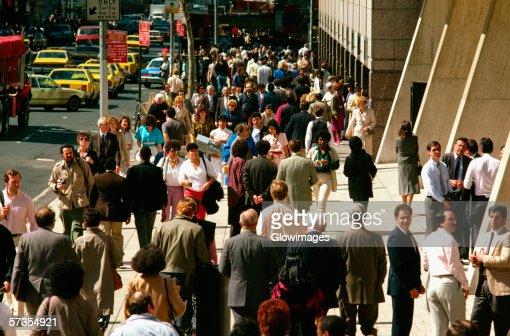 Crowds on New York City Srteet in Central Manhattan