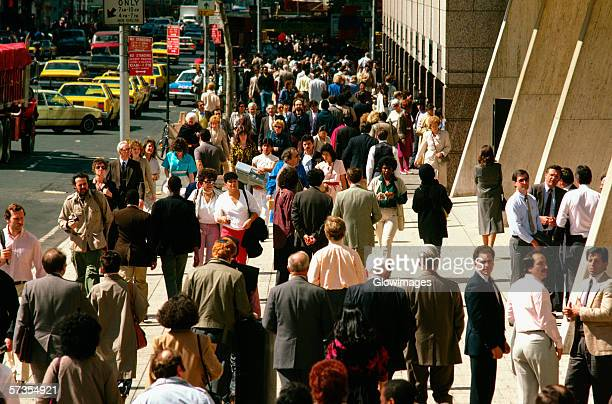 Crowds on New York City Srteet in Central Manhattan