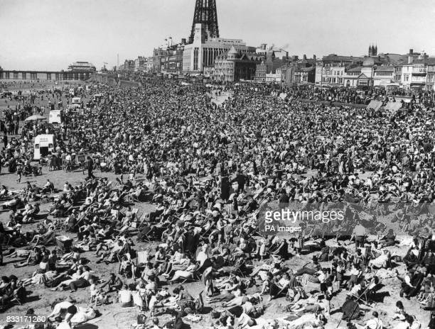 Crowds on the beach at Blackpool