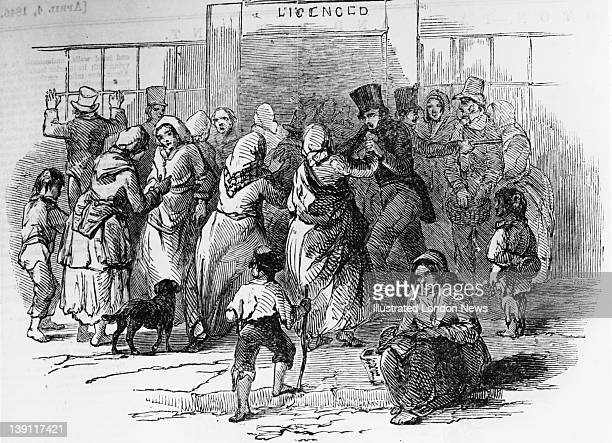 Crowds outside a government depot in Cork Ireland where Indian corn is being sold by the British government 1846 Food was short after the failure of...