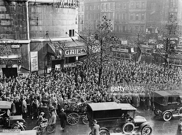 Crowds outside the Gaiety Theatre in Aldwych London during the General Election 29th October 1924