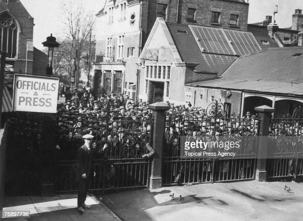 Crowds outside the gates at Tottenham Hotspur's White Hart Lane ground London before the team's cup replay against Cardiff City FC March 1922