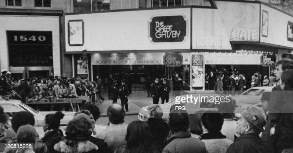 Crowds outside the premiere of Jack Clayton's film 'The Great Gatsby' New York City 27th March 1974