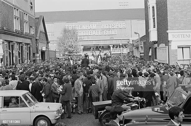Crowds outside the Tottenham Hotspur Football Club at White Hart Lane London for the Spurs v Arsenal North London derby match 3rd May 1971 The score...