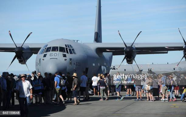 Crowds queue to look through a Royal Canadian Air Force C130J Hercules at the 2017 Air Tattoo at RNZAF Base Ohakea on February 25 2017 in Ohakea New...