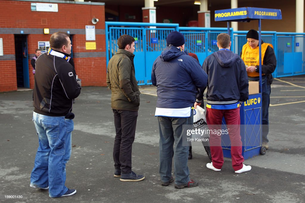 Crowds queuing for programmes during the FA Cup with Budweiser Third Round match between Leeds United and Birmingham City at Elland Road Stadium on January 5, 2013 Leeds, England.