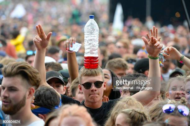 Crowds wait for Stormzy to perform on The Other Stage at the Glastonbury Festival at Worthy Farm in Somerset