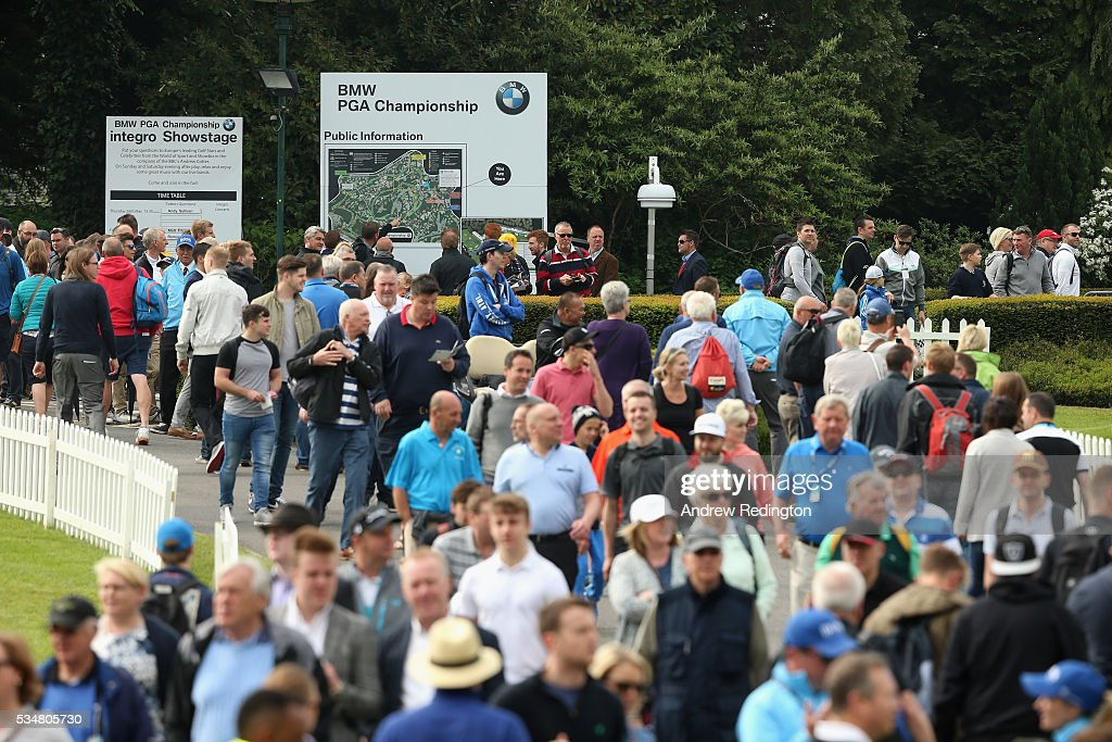 Crowds walk down the 1st hole during day three of the BMW PGA Championship at Wentworth on May 28, 2016 in Virginia Water, England.