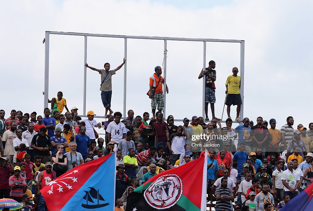 Crowds watch a cultural performance in Sir John Guise Stadium after a cultural performance on November 4 2012 in Port Moresby Papua New Guinea The...