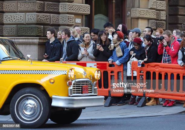 Crowds watch actor Benedict Cumberbatch shooting scenes in Glasgow which has been transformed into New York City for the filming of the TV show...