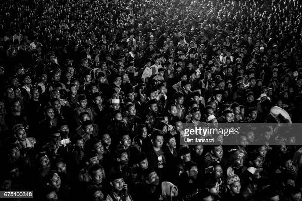 Crowds watch Pencak Dor competition at the yard of Lirboyo islamic boarding school on April 29 2017 in Kediri East Java Indonesia In Indonesia's East...