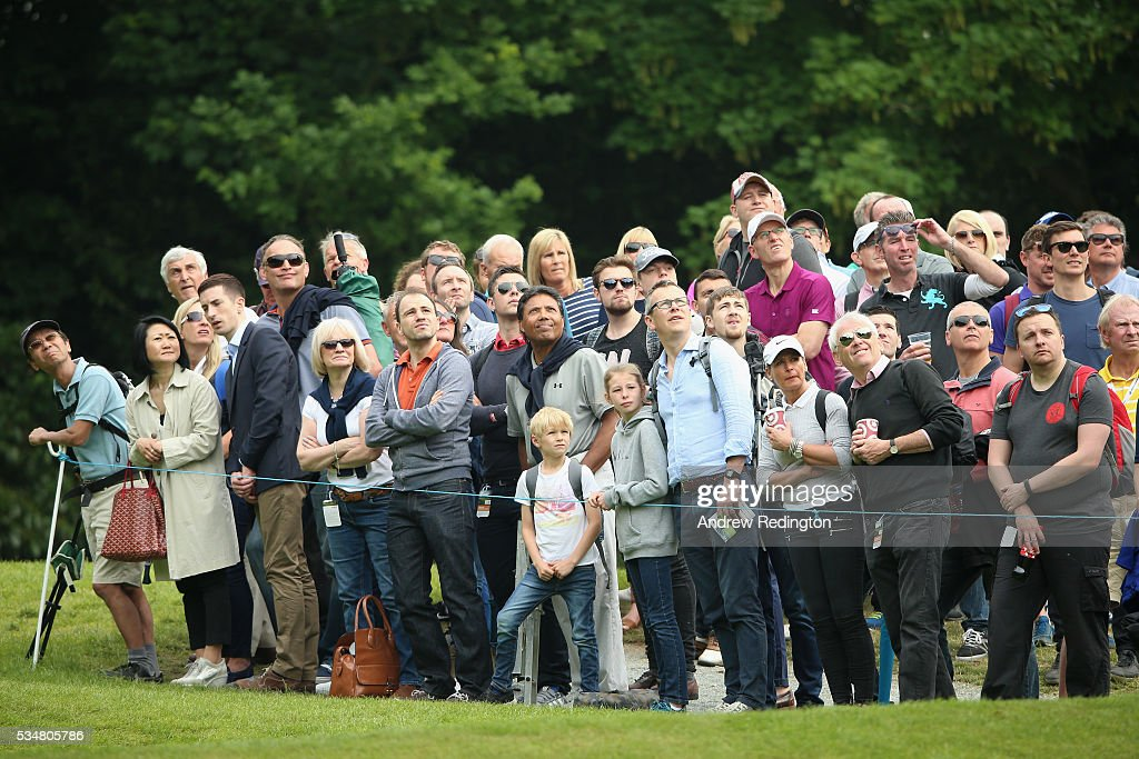 Crowds watch the action on the 2nd hole during day three of the BMW PGA Championship at Wentworth on May 28, 2016 in Virginia Water, England.