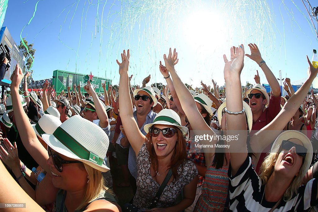 Crowds watch the Presets perform at the Heineken Live Stage during day six of the 2013 Australian Open at Melbourne Park on January 19, 2013 in Melbourne, Australia.