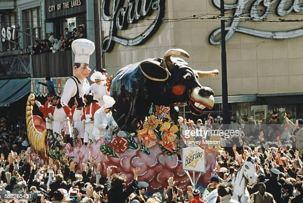 Crowds watch the Rex parade on Mardi Gras Day New Orleans Louisiana USA circa 1960