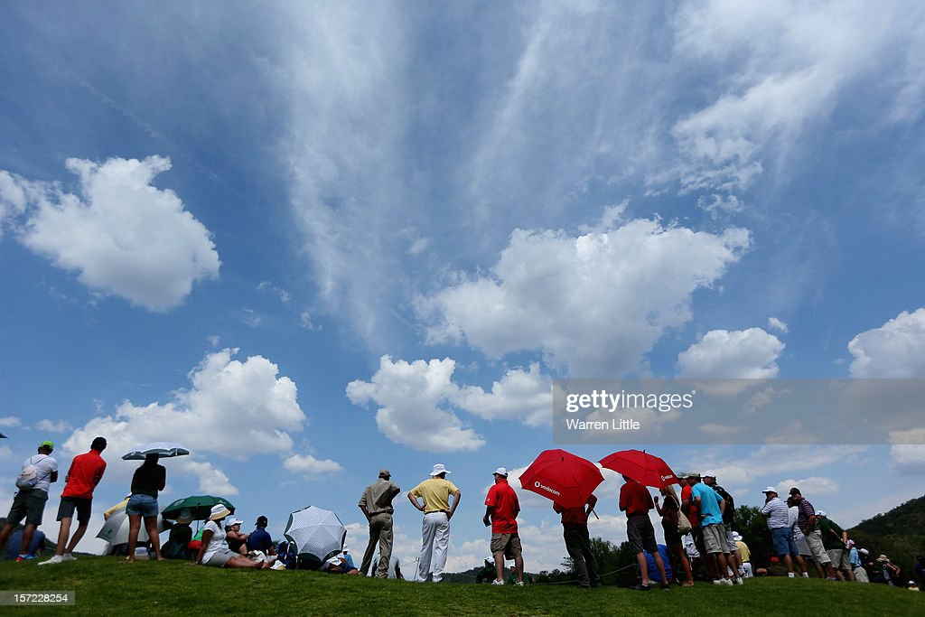 Crowds watch the second round of the Nedbank Golf Challenge at the Gary Player Country Club on November 30, 2012 in Sun City, South Africa.
