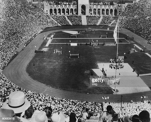 Crowds watching an equestrian event at the Los Angeles Memorial Coliseum during the 1932 summer Olympic games