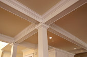 detail of intricate crown molding in expensive home