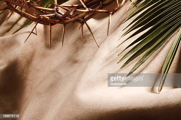 Crown of Thorns and Palm Leaf with Copyspace