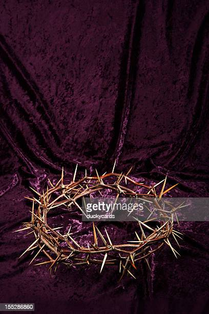 Crown of Thorns on Purple Background with Copyspace