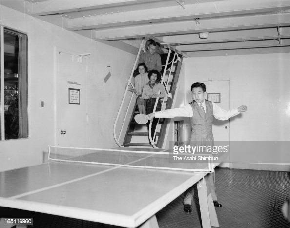 Crown Prince Akihito plays table tennis in the cruise ship President Wilson on the way to Hwaii from Yokohama on March 31 1953 Crown Prince Akihito...