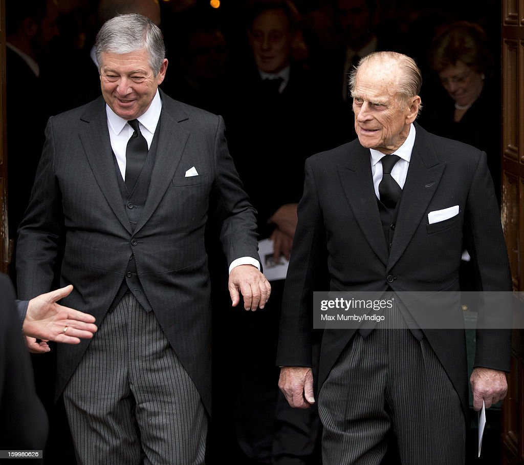 Crown Prince Alexander II of Yugoslavia and <a gi-track='captionPersonalityLinkClicked' href=/galleries/search?phrase=Prince+Philip&family=editorial&specificpeople=92394 ng-click='$event.stopPropagation()'>Prince Philip</a>, Duke of Edinburgh attend the funeral of <a gi-track='captionPersonalityLinkClicked' href=/galleries/search?phrase=Prince+Philip&family=editorial&specificpeople=92394 ng-click='$event.stopPropagation()'>Prince Philip</a>'s niece Princess Margarita of Baden at the Serbian Orthodox Church of Saint Sava on January 24, 2013 in London, England.