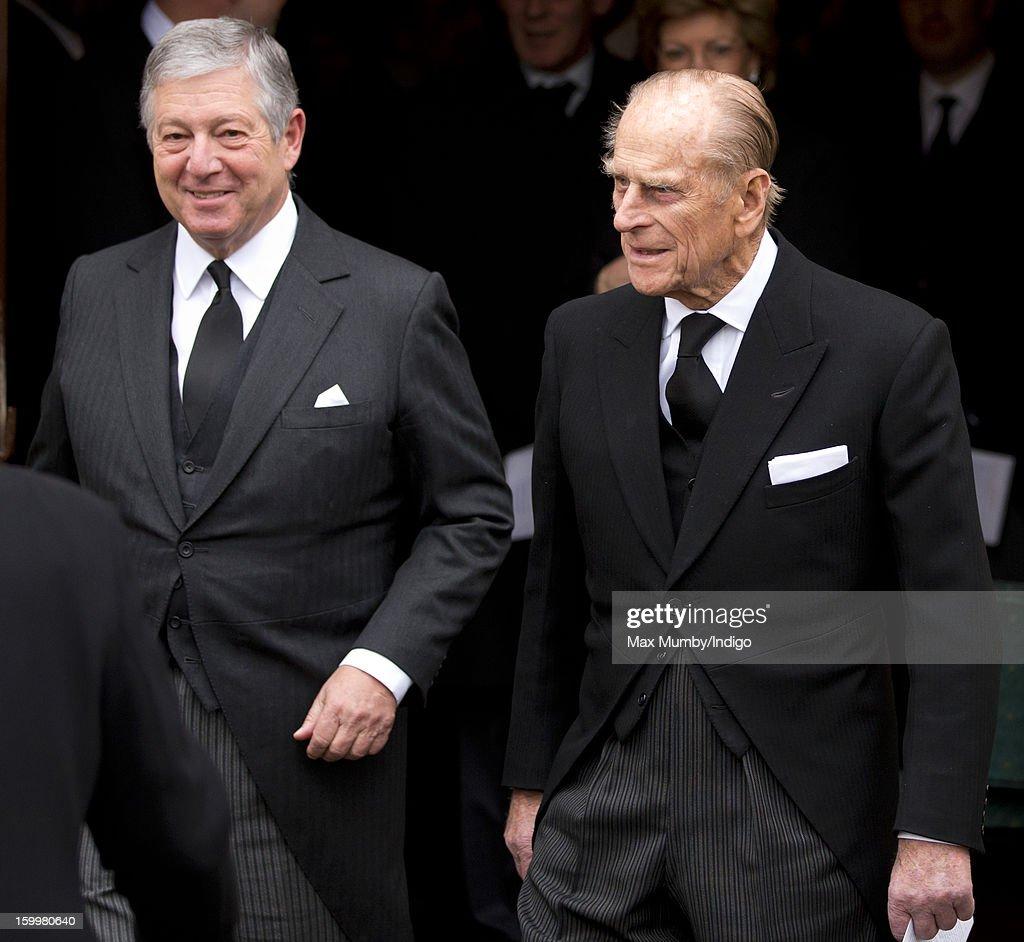 Crown Prince Alexander II of Yugoslavia and Prince Philip, Duke of Edinburgh attend the funeral of Prince Philip's niece Princess Margarita of Baden at the Serbian Orthodox Church of Saint Sava on January 24, 2013 in London, England.