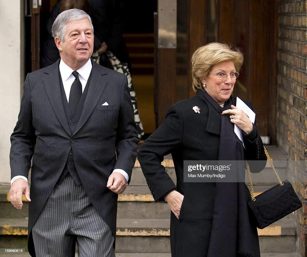 Crown Prince Alexander II of Yugoslavia and Queen Anne-Marie of Greece attend the funeral of Princess Margarita of Baden, niece of Prince Philip, Duke of Edinburgh at the Serbian Orthodox Church of Saint Sava on January 24, 2013 in London, England.
