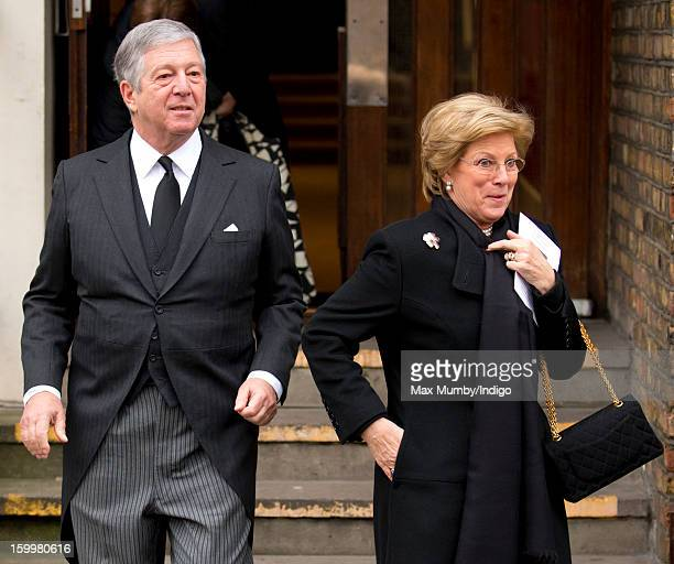 Crown Prince Alexander II of Yugoslavia and Queen AnneMarie of Greece attend the funeral of Princess Margarita of Baden niece of Prince Philip Duke...