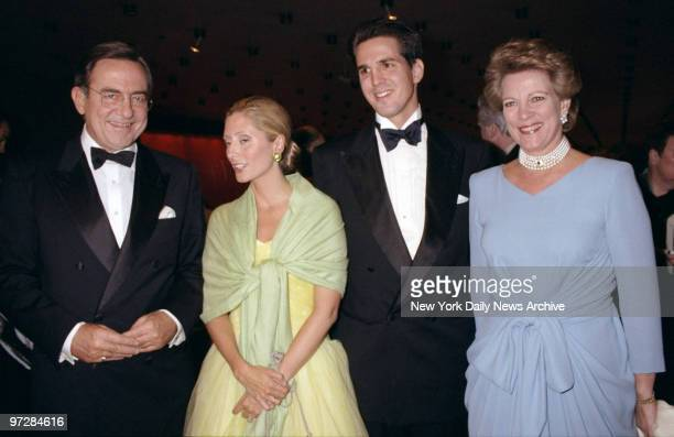 Crown Prince and Princess Pavlos of Greece are flanked by King Constantine and Queen AnneMarie of Greece at the New York City Ballet Spring Gala at...