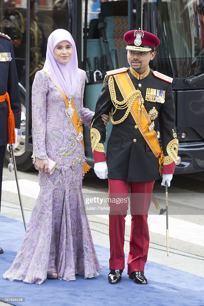 Crown Prince Billah, and Princess Sarah of Brunei arrive at the Nieuwe Kerk in Amsterdam for the inauguration ceremony of King Willem Alexander of the Netherlands, on April 30, 2013 in Amsterdam, Netherlands.