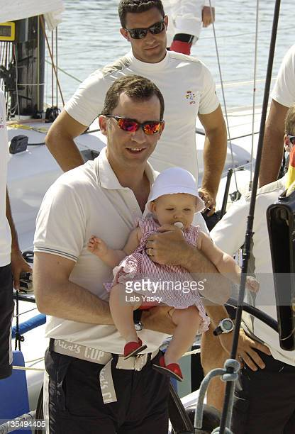 Crown Prince Felipe and Baby Leonor during Spanish Royals Sighting in Puerto Portals July 23 2006 in Mallorca Balearic Islands Spain