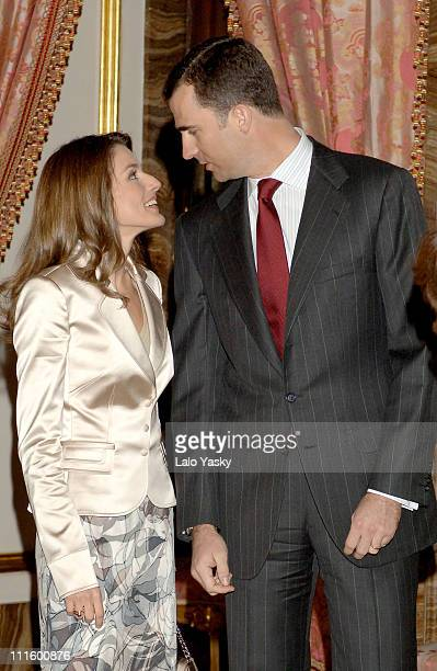 Crown Prince Felipe and Crown Princess Letizia during Crown Prince Felipe and Crown Princess Letizia of Spain Preside at a Literary Lunch in Madrid...