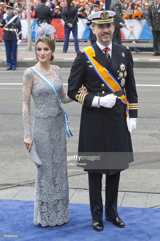 Crown Prince Felipe, and Crown Princess <a gi-track='captionPersonalityLinkClicked' href=/galleries/search?phrase=Letizia+of+Spain&family=editorial&specificpeople=158373 ng-click='$event.stopPropagation()'>Letizia of Spain</a> arrive at the Nieuwe Kerk in Amsterdam for the inauguration ceremony of King Willem Alexander of the Netherlands, on April 30, 2013 in Amsterdam, Netherlands.