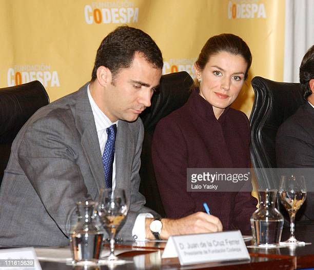 Crown Prince Felipe and Princess Letizia during Crown Prince Felipe and Princess Letizia Present The Codespa Foundation 'Empresa Solidaria' Award at...