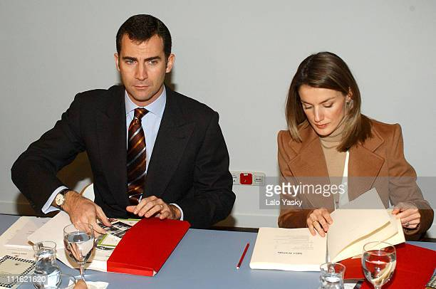 Crown Prince Felipe and Princess Letizia during Crown Prince Felipe and Princess Letizia Visit the Students Residence at Madrid in Madrid Spain