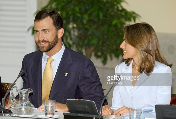 Crown Prince Felipe and Princess Letizia during Crown Prince Felipe and Princess Letizia Preside over 'Prince of Asturias Foundation' Meeting June 30...