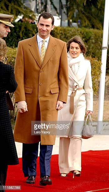 Crown Prince Felipe and Princess Letizia during Prince Felipe and Princess Letizia Depart for Trip to Brazil at Barajas Airport in Madrid Spain