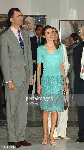 Crown Prince Felipe and Princess Letizia during Prince Felipe and Princess Letizia at Photo Exhibition '25 Years of the Prince of Asturias Awards'...