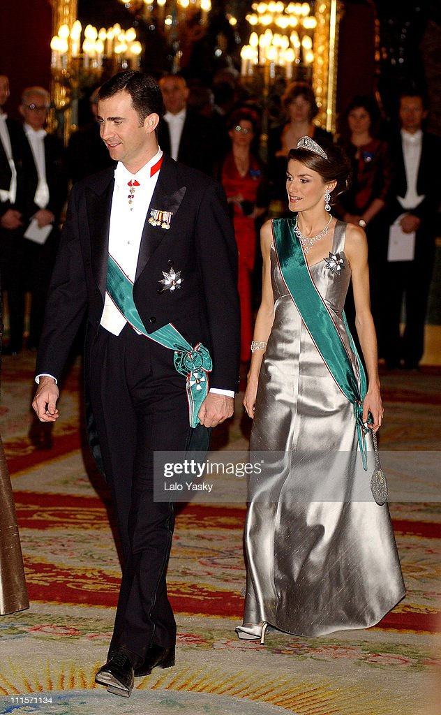 Crown Prince Felipe and Princess Letizia during The Spanish Royal Family Welcomes Hungarian President for a Gala Dinner January 31 2005 at Zarzuela...