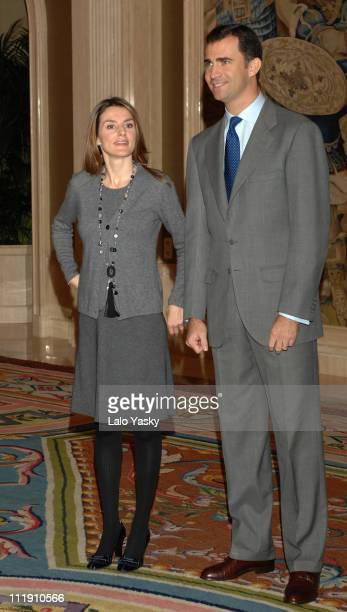 Crown Prince Felipe and Princess Letizia during TRH Prince Felipe and Princess Letizia Attend Official Audiences at Zarzuela Palace in Madrid Madrid...