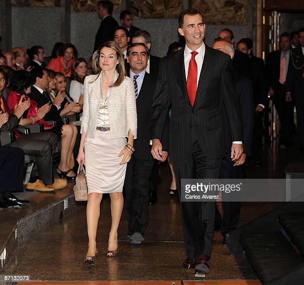 Crown Prince Felipe and Princess Letizia of Spain attend FUDEN 20th Anniversary at Palacio de Congresos on May 12 2009 in Madrid Spain