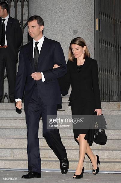 Crown Prince Felipe and Princess Letizia of Spain attend Leopoldo CalvoSotelo State Funeral on May 08 2008 at the Santa Maria la Real de la Almudena...