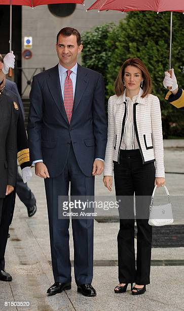 Crown Prince Felipe and Princess Letizia of Spain attend the 4th Luis Carandell Awards at the Senate Palace on June 09 2008 in Madrid Spain
