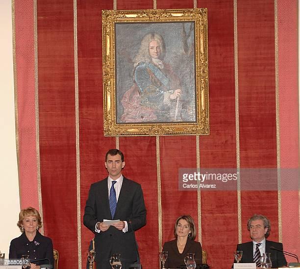 Crown Prince Felipe and Princess Letizia of Spain attend the Antonio Sancha Awards at the Real Academia de Bellas Artes de San Fernando on January 10...