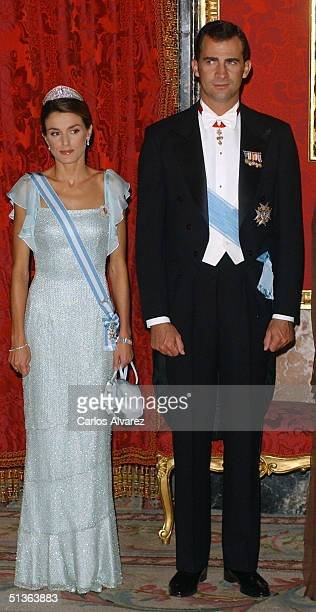 Crown Prince Felipe and Princess Letizia of Spain attend the Gala Dinner held by the Spanish Royal family in honour of Czech President Vaclav Klaus...