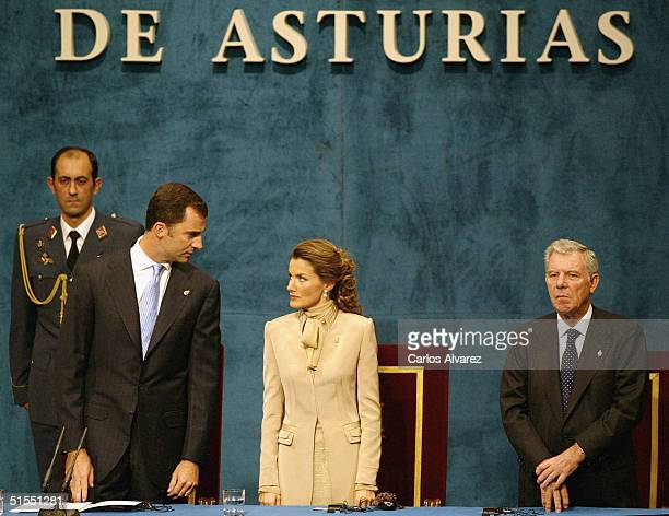Crown Prince Felipe and Princess Letizia of Spain attend the 'Prince of Asturias Awards' at Campoamor Theater on October 22 2004 in Oviedo Spain