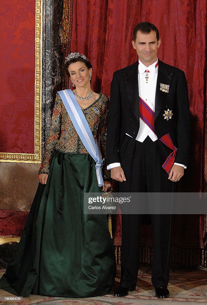 Crown Prince Felipe and Princess Letizia of Spain attend the Royal Gala Dinner in honour of Rumanian President Traian Basescu and his wife at the Royal Palace on November 26, 2007 in Madrid, Spain